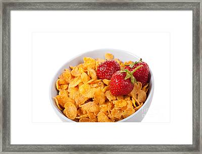 Cornflakes And Three Fresh Strawberries In Bowl  Framed Print by Arletta Cwalina