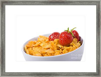Cornflakes With Three Fresh Strawberries In Bowl  Framed Print