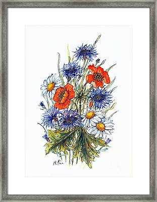 Cornflower, Poppy And Ox Eye Daisy Framed Print by Nell Hill