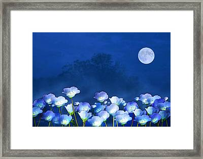 Framed Print featuring the mixed media Cornflowers In The Moonlight by Valerie Anne Kelly