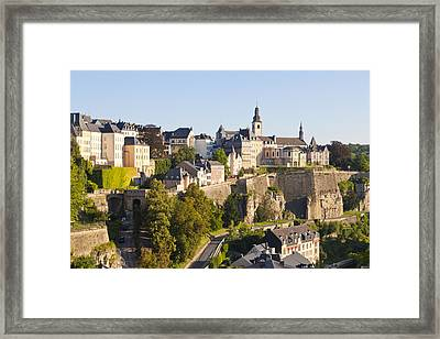 Corniche And Luxembourg Centre, Luxembourg City Framed Print by Werner Dieterich