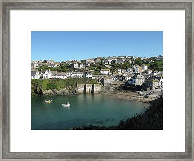 Cornish Fishing Village Of Port Isaac, Cornwall Framed Print by Thepurpledoor