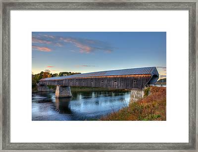 Cornish Windsor Covered Bridge Sunset Framed Print
