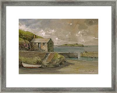 Cornwall Mullion Cove Harbour Lizard -english Channel - Framed Print by Juan  Bosco