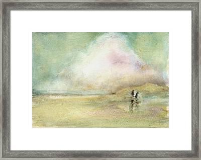Corolla Beach Stroll Framed Print by Donna Elio