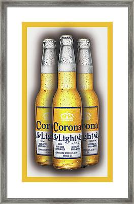 Corona Light Bottles Painting Collectable Framed Print