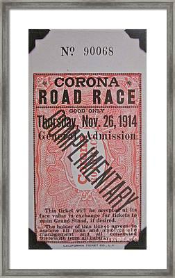 Corona Road Race 1914 Framed Print by Gwyn Newcombe