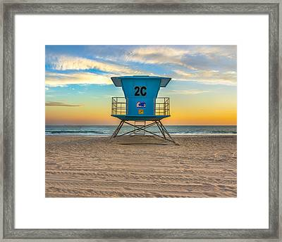 Coronado Beach Lifeguard Tower At Sunset Framed Print
