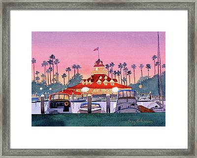 Coronado Boathouse After Sunset Framed Print