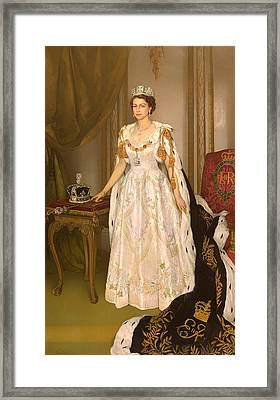 Coronation Portrait Of Queen Elizabeth II Of The United Kingdom Framed Print