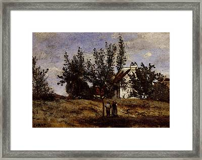 Corot An Orchard At Harvest Time Framed Print
