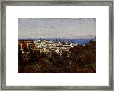Corot View Of Genoa From The Promenade Of Acqua Sola Framed Print by Jean Baptiste Camille Corot