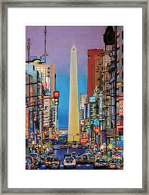 Corrientes Avenue Framed Print by Bernardo Galmarini