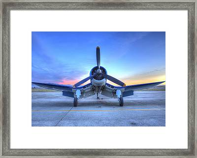 Corsair F4u At The Hollister Air Show Framed Print