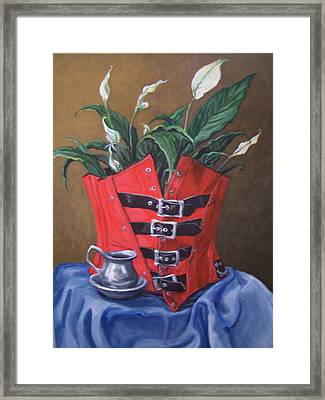 Corset And Calla Lily Framed Print