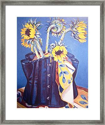Corset And Sunflowers Framed Print