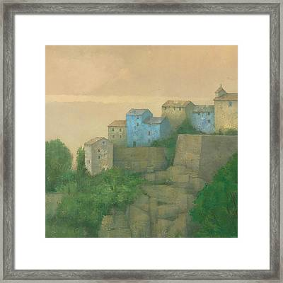 Corsican Hill Top Village Framed Print by Steve Mitchell