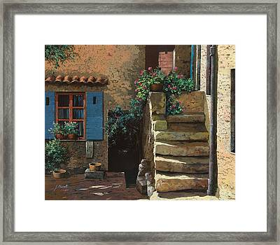 Cortile Interno Framed Print by Guido Borelli