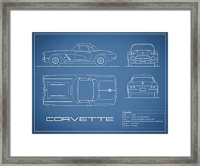 Corvette C1 Blueprint Framed Print by Mark Rogan