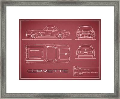 Corvette C1 Blueprint - Red Framed Print by Mark Rogan