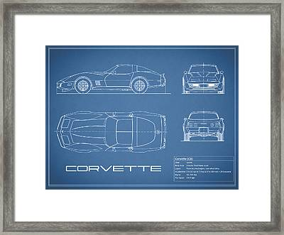 Corvette C3 Blueprint Framed Print