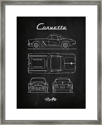 Corvette Chalkboard Framed Print by Mark Rogan