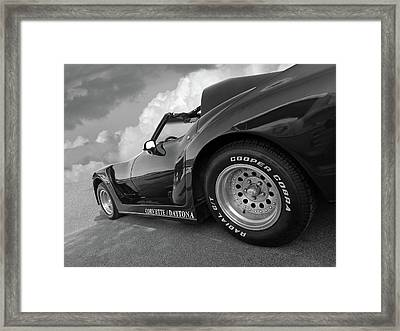 Framed Print featuring the photograph Corvette Daytona In Black And White by Gill Billington