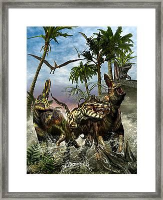 Corythosaurus Last Run Framed Print by Kurt Miller