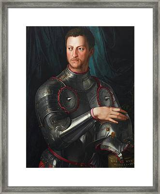 Cosimo I De' Medici In Armour Framed Print by Bronzino