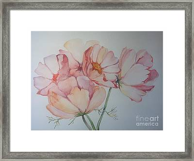 Framed Print featuring the painting Cosmea by Iya Carson