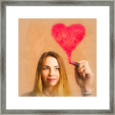 Cosmetic Girl Drawing Love Heart With Lipstick Framed Print by Jorgo Photography - Wall Art Gallery