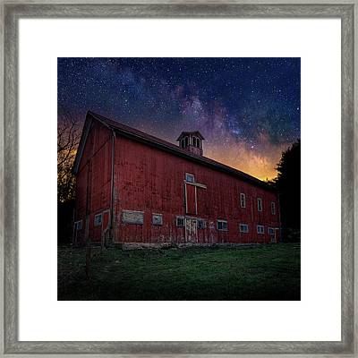Framed Print featuring the photograph Cosmic Barn Square by Bill Wakeley