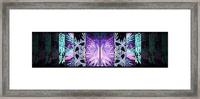 Framed Print featuring the mixed media Cosmic Collage Mosaic Left Mirrored by Shawn Dall