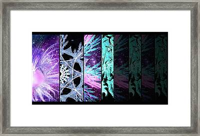 Framed Print featuring the mixed media Cosmic Collage Mosaic Left Side Flipped by Shawn Dall