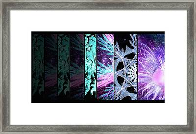 Framed Print featuring the mixed media Cosmic Collage Mosaic Left Side by Shawn Dall