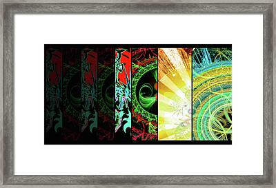Framed Print featuring the mixed media Cosmic Collage Mosaic Right Side Flipped by Shawn Dall
