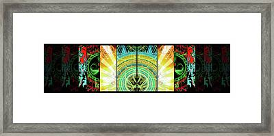 Framed Print featuring the mixed media Cosmic Collage Mosaic Right Side Mirrored by Shawn Dall