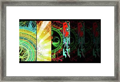 Framed Print featuring the mixed media Cosmic Collage Mosaic Right Side by Shawn Dall