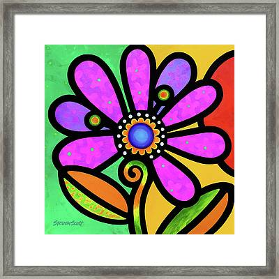 Cosmic Daisy In Pink Framed Print