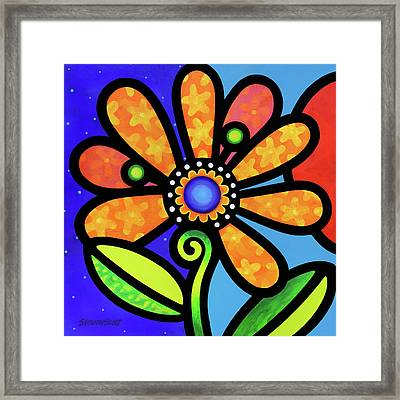 Cosmic Daisy In Yellow Framed Print