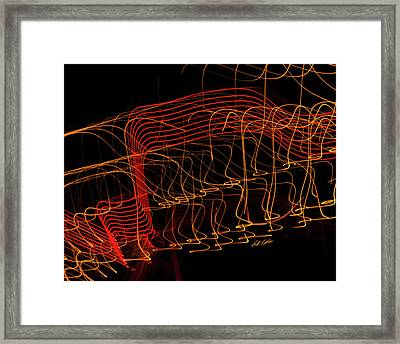 Cosmic Harmony In Amber And Red Framed Print