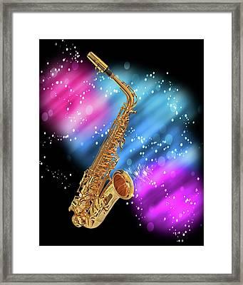 Cosmic Sax Framed Print