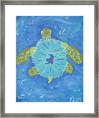 Cosmic Turtle Framed Print by Yshua The Painter