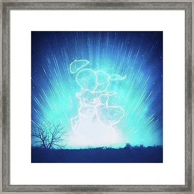 Cosmo And Celeste Colorful Cosmological Night Sky Couple In Love Ice Blue  Framed Print