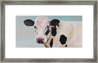 Cosmoo Cow Framed Print by Laura Carey