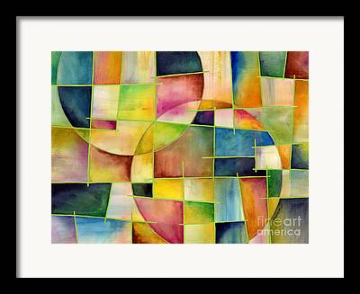 Green Geometric Art Framed Prints