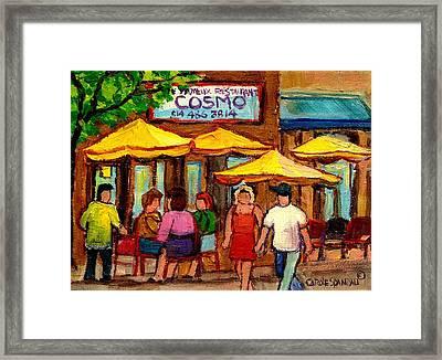 Cosmos  Fameux Restaurant On Sherbrooke Framed Print by Carole Spandau