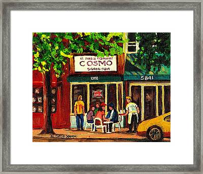 Cosmos Famous Montreal Breakfast Restaurant Framed Print by Carole Spandau