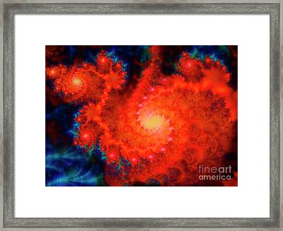 Cosmos Space Themed Abstract Fractal Art Framed Print by Tina Lavoie