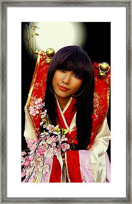 Cosplayer In Japanese Costume Framed Print